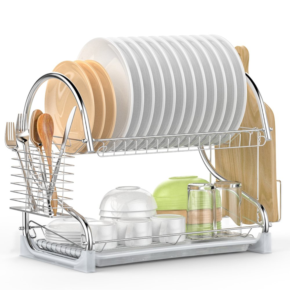 Wholesale 2 tier Electroplate Eco friendly Wire Metal stainless steel hanging tableware Kitchen Drying Dish Rack with drainer
