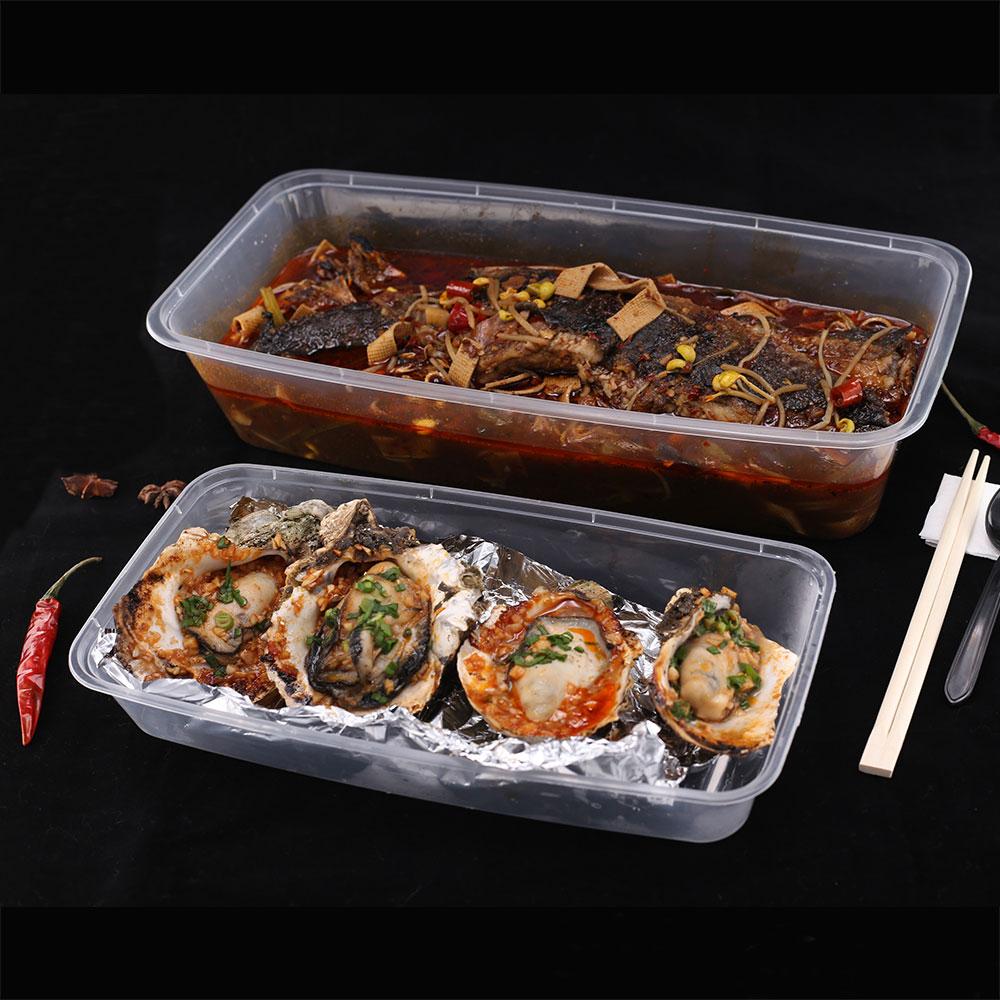 Tirar a caixa de almoço descartável pp embalagens de plástico recipiente de alimento seguro para fast food