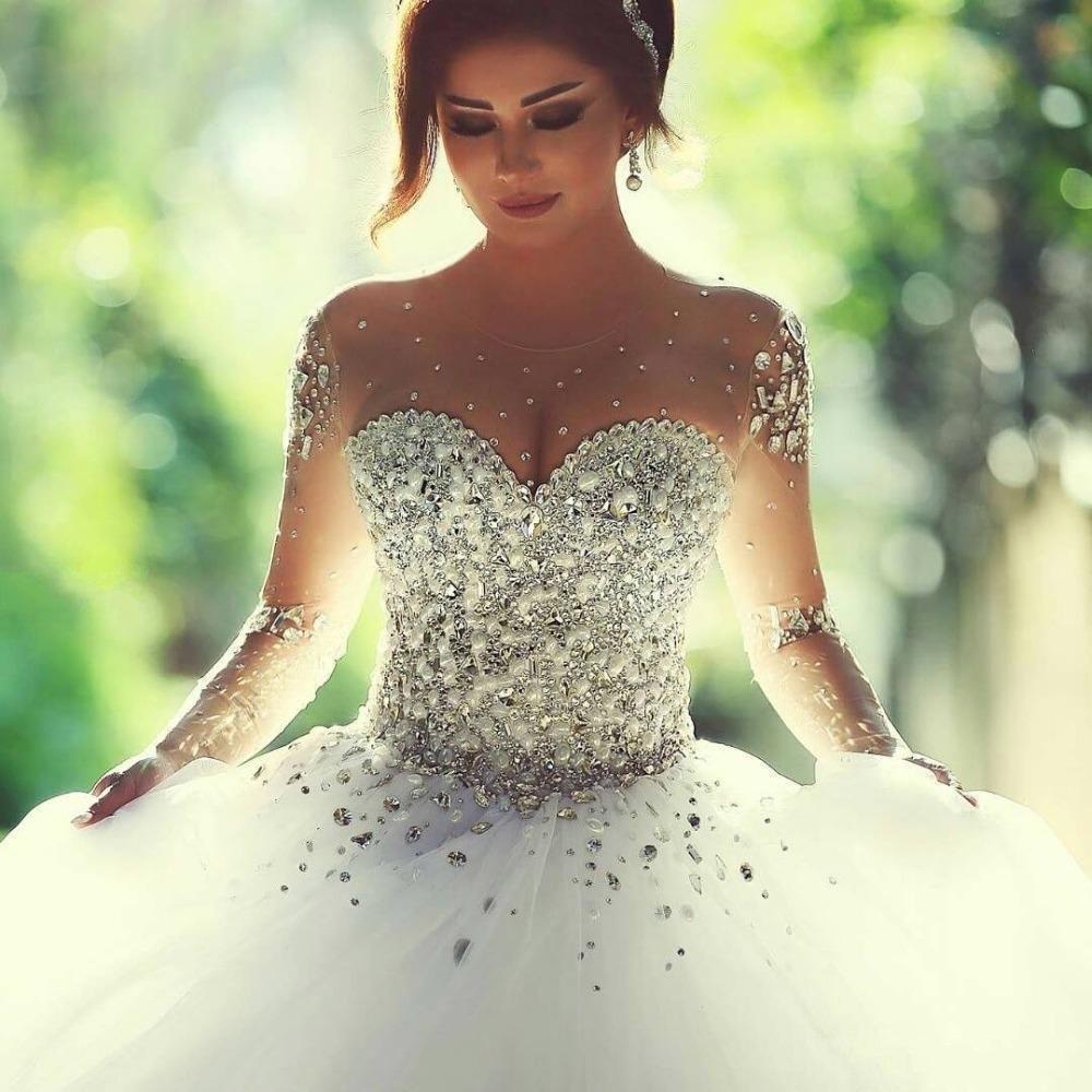 ウェディングドレスブライダルガウンプリンセスレースセクシーな長袖の女性のウェディングドレス