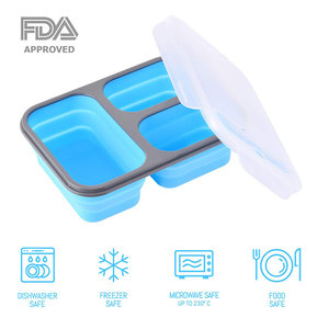 Microwave food storage container portable foldable collapsible silicone rubber lunch box for school, picnics and office lunches