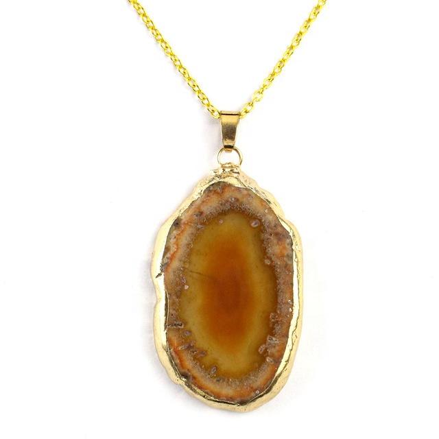 Wholesale natural crystal stone pendant agate slice pendants