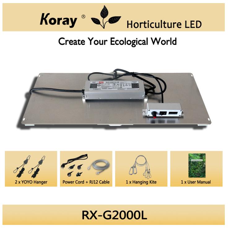 Koray RX-G2000 indoor led grow light kit use Orginal Samsung lm301b lm301h leds with 660nm chips