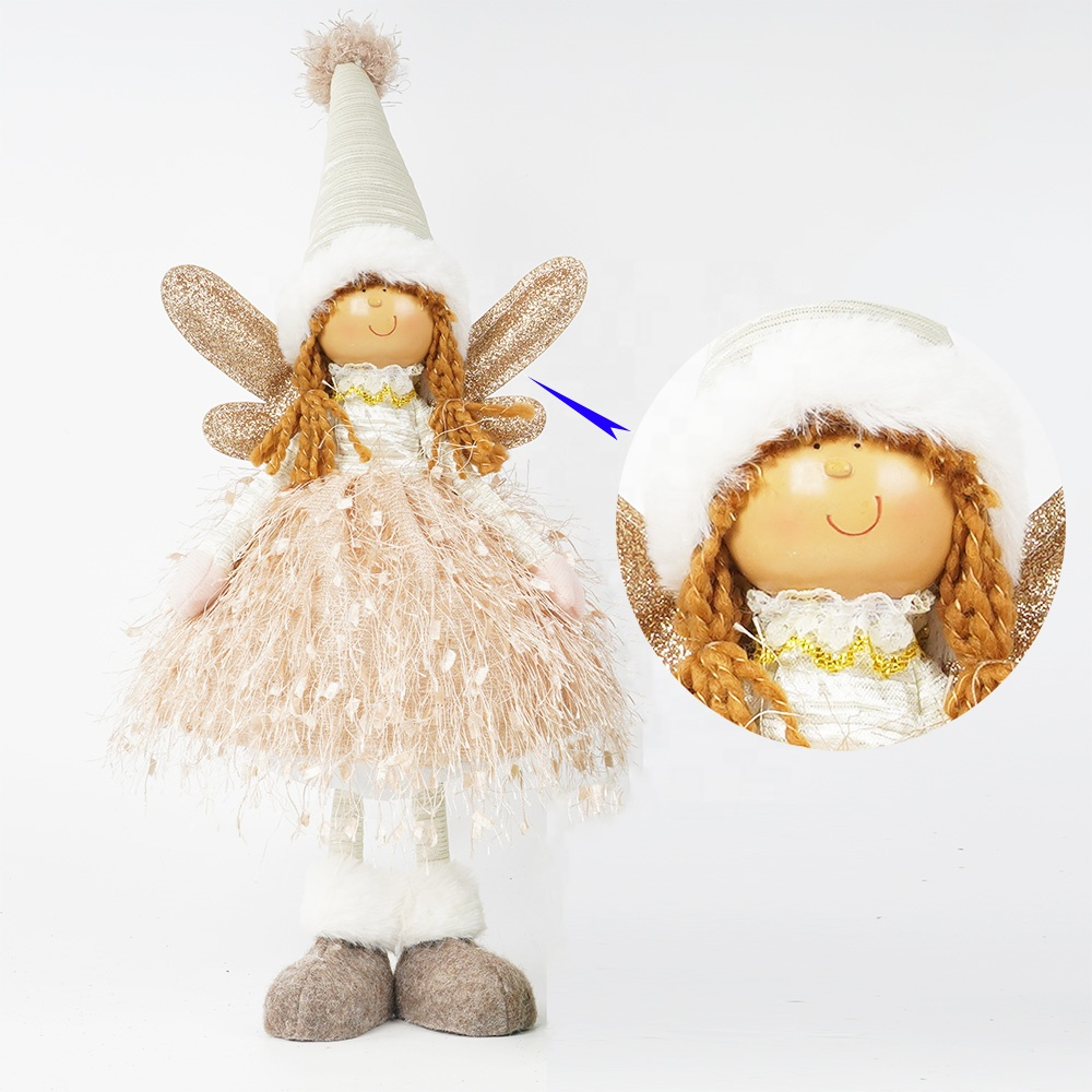 Wholesale pink tabletop decor plush standing fairy girl angel <strong>doll</strong> with wings