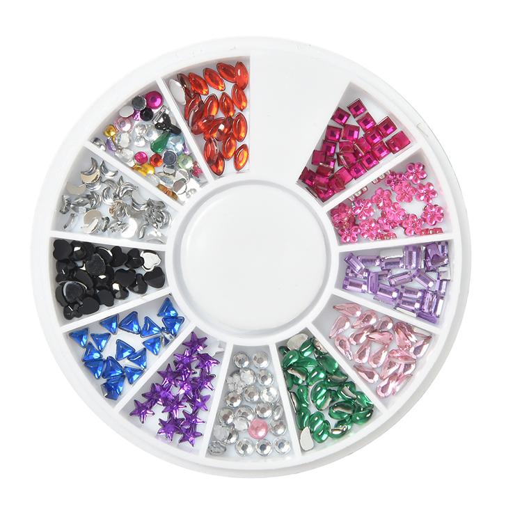 200pcs/box colorful shiny 3D AB nail rhinestone crystal glass nail gems rhinestone for nail, 12 colors mixed
