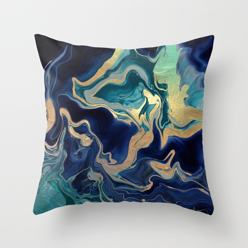 Blue Marble Pattern Cushion Covers Decorative Throw Pillows outdoor cushion slipcovers