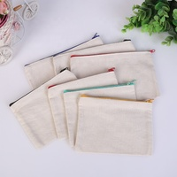 Nature color pure blank cotton canvas bag zipper zipper canvas zippered pouch bag