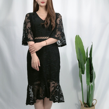 Online Shopping New Design Simple Long Sleeve Lace Party Style Fall Women Dress