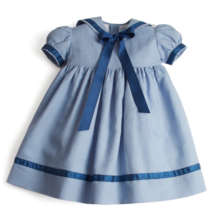 2020 Summer Girls Spanish Navy Style Dress <strong>Baby</strong> <strong>Cotton</strong> <strong>Frocks</strong>