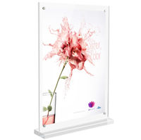 clear Acrylic Double Sided T Shape Table Top Frames Display Holder with vertical stand