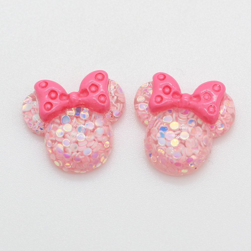 Assorted of Pink Glitter CabochonsDIY Kawaii Jewelry Pendants Animal Flatbacks Cartoon Bear Cat Flower Star Rabbit Mouse Sparkle