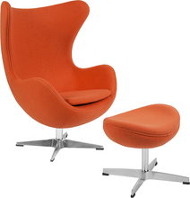 Orange Wolle Stoff Egg Chair mit Tilt-Lock Mechanismus und Ottomane