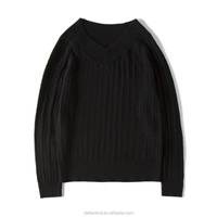instgram fashion v-neck pullover lady's knitwear women's up dress merino wool sweater for Autumn