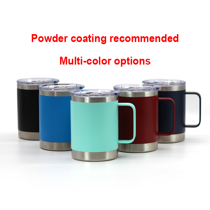 Multi color 16 oz  Wine Glass Tumbler with metal handle Stainless Steel Double Wall Vacuum Insulated Travel Cup