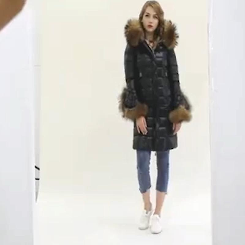 New Design 2KG Raccoon fur Trim Hood lady long down jacket for women