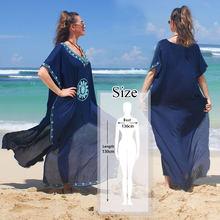 Летнее пляжное платье-туника с v-образным вырезом и рукавами «летучая мышь» на шнуровке для женщин, пляжная одежда, Макси-Платье, халат, N775, ...(Китай)