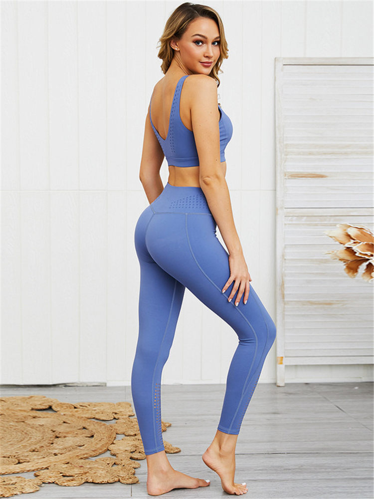 Wholesale Sport Suit Women Fitness Clothing Sportswear Gym Bra Running Yoga Leggings Sets