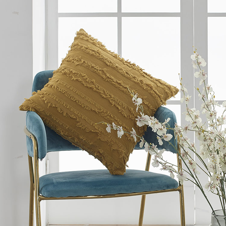 Buti Boho Macrame Solid Cotton Ethnic Knit Tassel  Embroidered Cushion Cover For Sofa