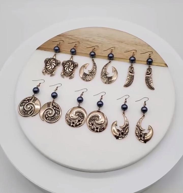Unique hawaiian jewelry black enamel plumeria tribe circular drop pearl earrings 14k gold plated women wholesale