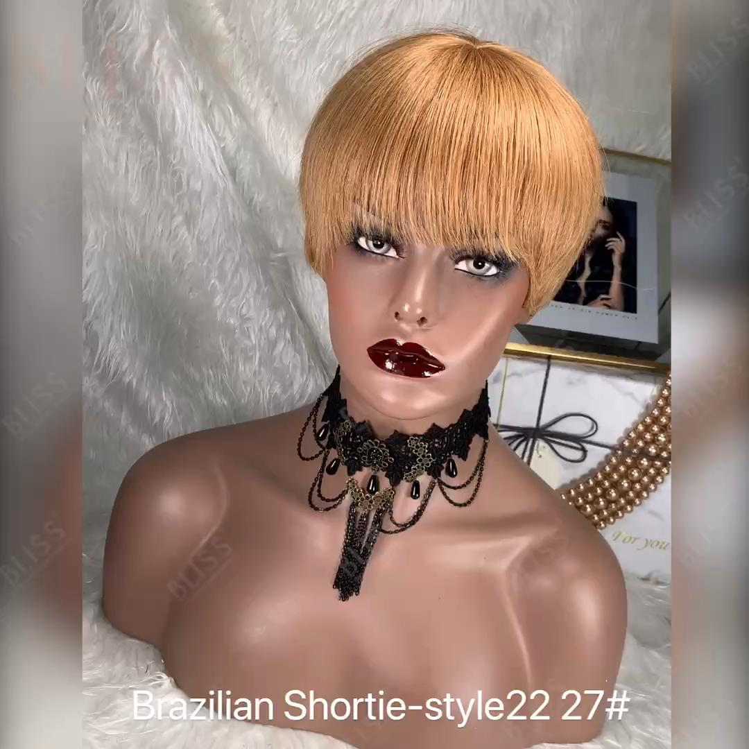 Bliss Smeraldo Breve Parrucca di Capelli Umani 27 # Parrucca Vergine Brasiliana A Buon Mercato Vergine Dei Capelli Parrucche con la Frangetta per le Donne Nere