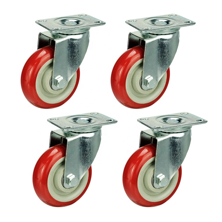 Medium duty 3 4 5 inch red pvc swivel trolley wheel caster with bearing