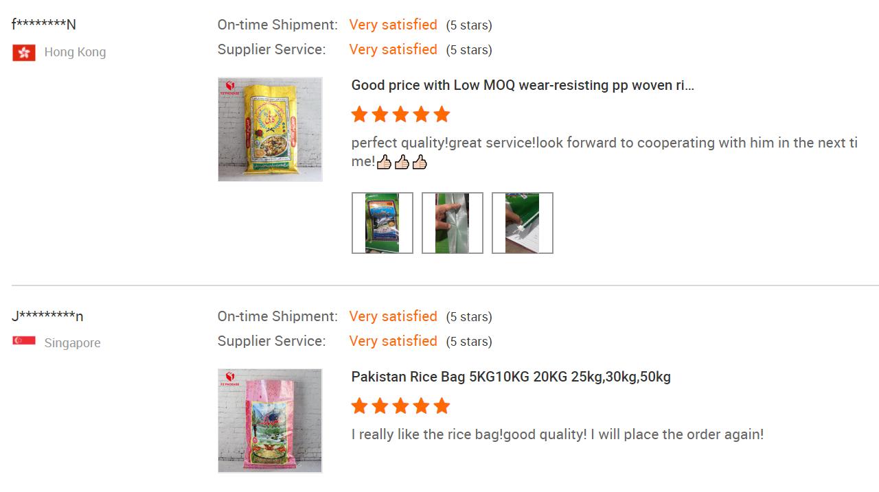 3 minutos resposta Personalizável 5kg saco de arroz tecido pp laminação de Bopp impressão completa com patch punho plástico