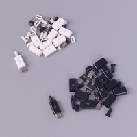 10pcs/ Sets DIY Micro USB Welding Type Male 5 Pin Plug Connector w/Plastic Cover white/black