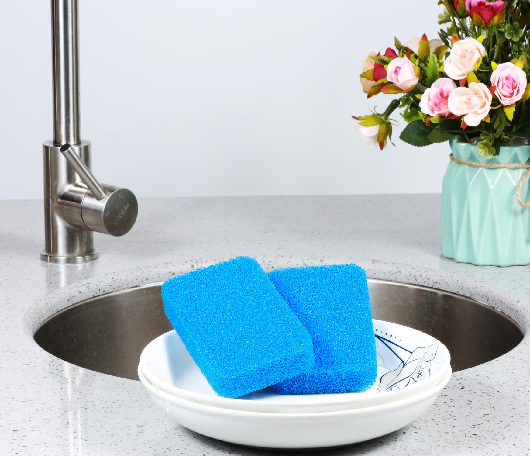 Silicone kitchen dish washing sponge housekeeping cleaning sponge double usage sponge scourer
