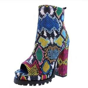 Women Platform Sandals Ladies High Chunky Heels Snake Print High Heel Summer Booties Pumps Peep Toe Rubber Sexy Ankle Boots