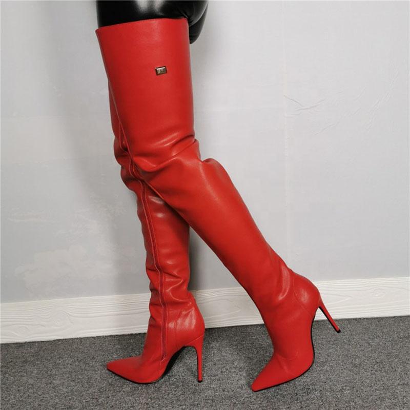 2019 botas largas hasta la rodilla para mujer botas femeninas de cabeza redonda para mujer botas de tacones cuadrados de color caqui occidental botas