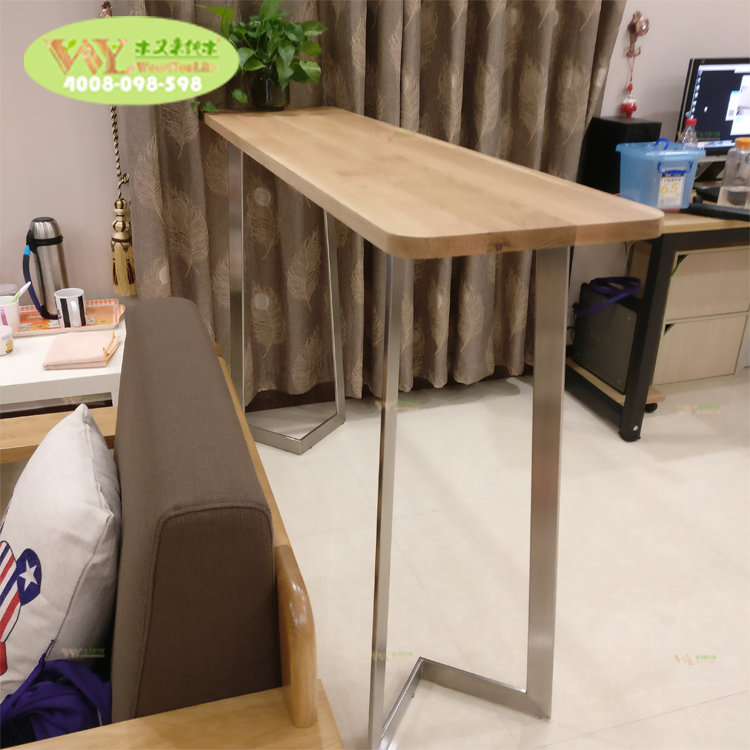 Factory bespoke high <strong>bar</strong> table metal legs / solid wood white oak table <strong>bar</strong> top