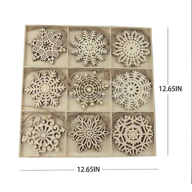Ready to Ship DIY Christmas Decorations 9 Designs 27 Pieces Unfinished Wooden Snowflake Shaped Hanging Ornaments with Rope