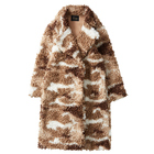 Women's fur coat camouflage printed long and wide coat