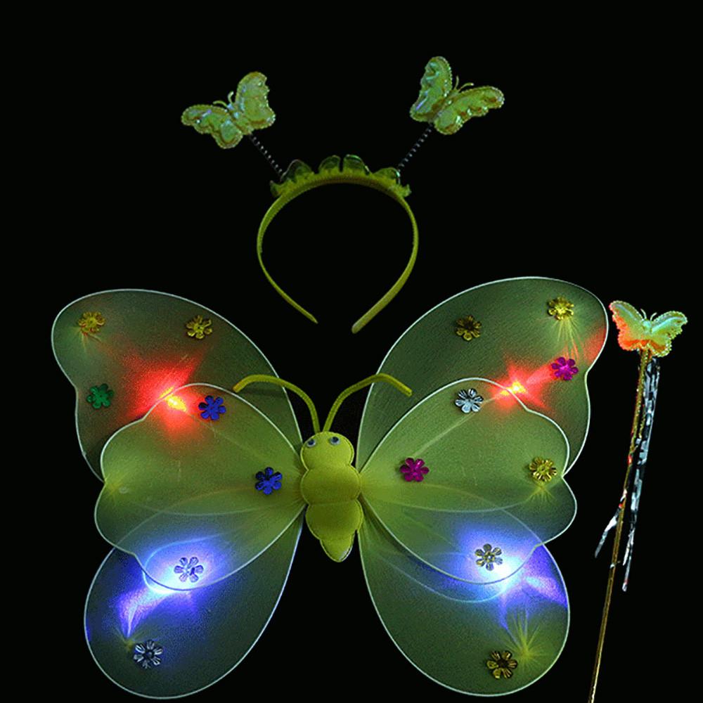3 шт./компл. девочек мигающий светодиодный светильник крылья волшебной бабочки, волшебной палочкой и повязкой на голову костюм игрушка боль...(Китай)