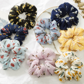 Color broken flower crumple hairbands large intestine circle coil hair ball hairbands women hair scrunchies
