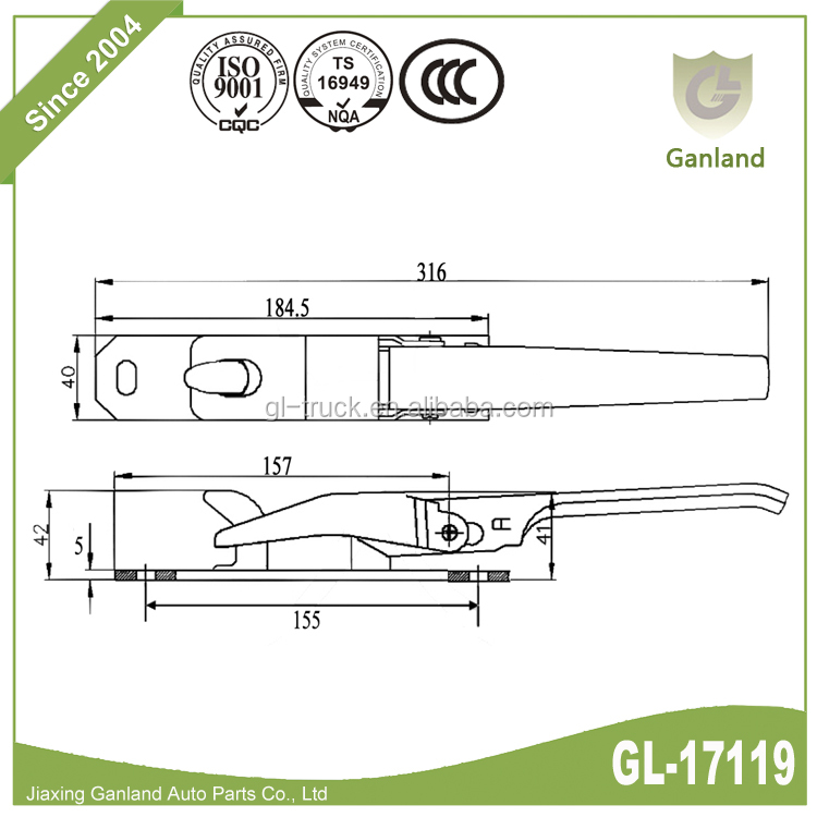GL-17119 Wing Van Truck Parts Side Board Latch