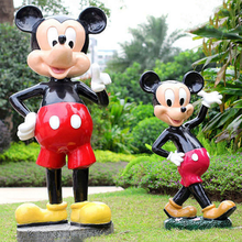 Fibra de vidro escultura em resina animal do mickey mouse
