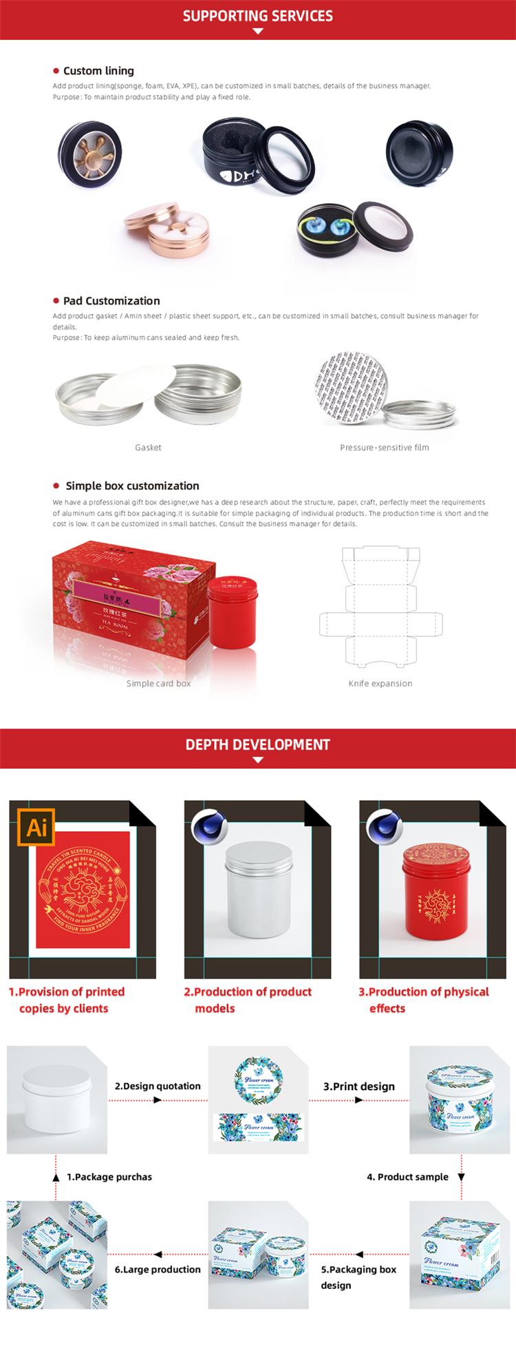 10 g/ml LH3518 oogcrème aluminium kan poeder pot lippenbalsem jar 10g cosmetica blikken doos