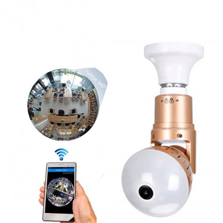 Fisheye สมาร์ทกล้องวงจรปิดกล้อง WiFi 360 ดูการเฝ้าระวังที่ซ่อนการรักษาความปลอดภัยหลอดไฟกล้อง SD Card