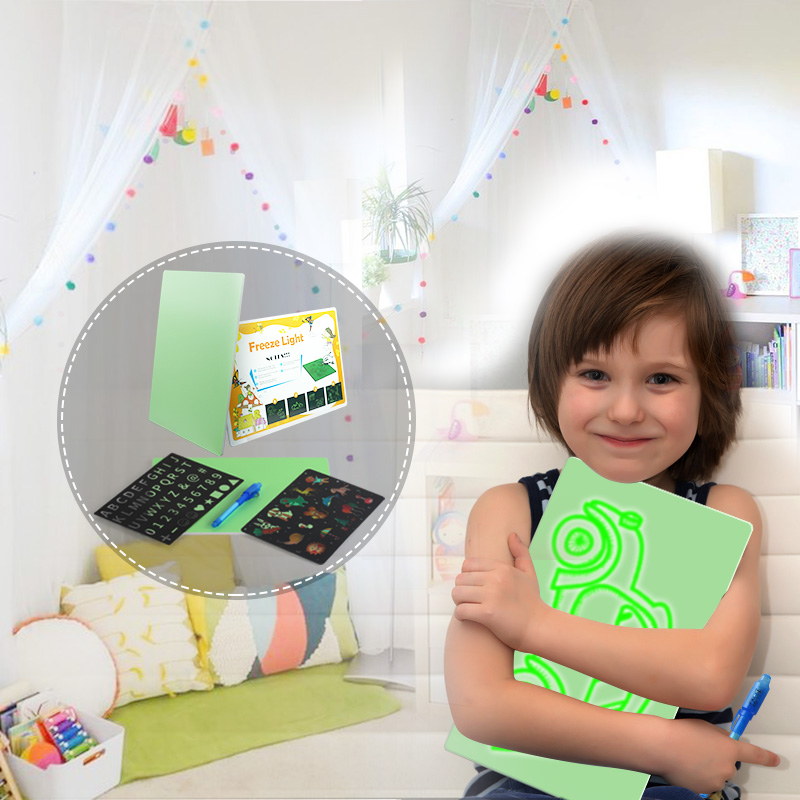 funny educational children game toys magic pad led fluorescent drawing board
