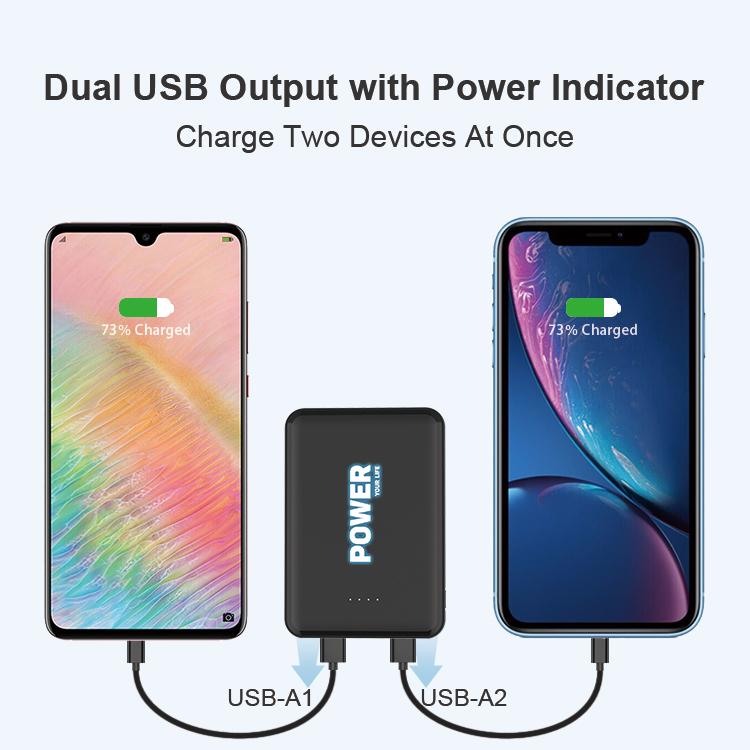 Cute Mini Small Power Bank 4000mAh Dual USB 5V 2A Output with LED Backlight Logo