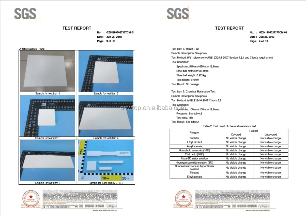 Pierre artificielle Pliage Feuille Acrylique 100% Pur Acrylique Surface Solide pour Comptoir