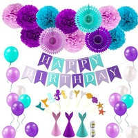 Happy Birthday Banner Mermaid Theme Cake Topper Party Hat Mermaid Birthday Party Decorations Supplies Set