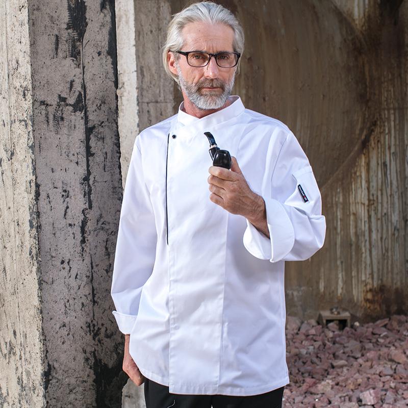 CHECKEDOUT Unisex Chef Jacket White- Black Ideal for Workwear Quality Chef Uniform
