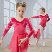Wholesale Mixed Colors Dancewear Kids Gym Pleuche Ballet Skirt Girls Velour Gauze Dance Dress Costumes