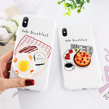 LOVEBAY New Funny Relief Pattern Phone Case for iPhone XR IMD Cute 3D Pizza Eggs Accessories Mobile Cell Phone Case