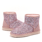 Women's Classic Winter Warm Indoor Outdoor Short Cowhide Leather Faux Sheepskin Bling Bling Shiny Snow Boots