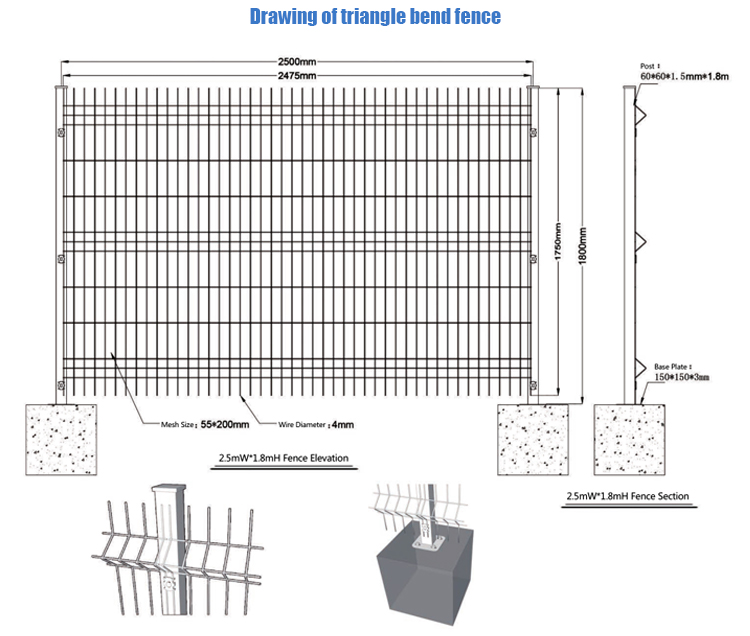 Triangle bending welded wire mesh fence for sale