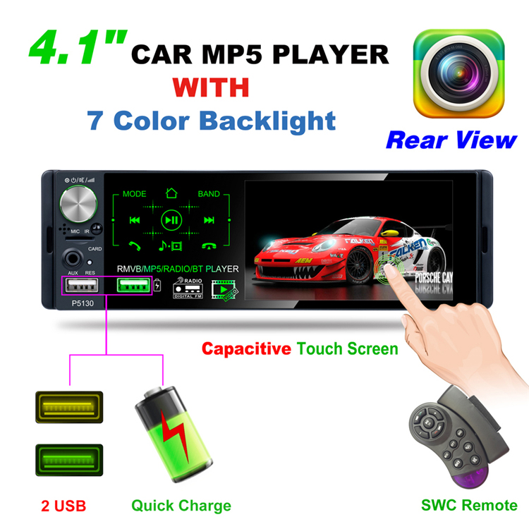 4.1 polegadas HD tela de toque capacitivo LCD-TFT MP5 player do carro subwoofer