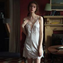 Летняя Сексуальная женская ночная рубашка с шелковой бабочкой, кружевной глубокий v-образный ремень, ночная рубашка, ночная рубашка, белье, ...(Китай)