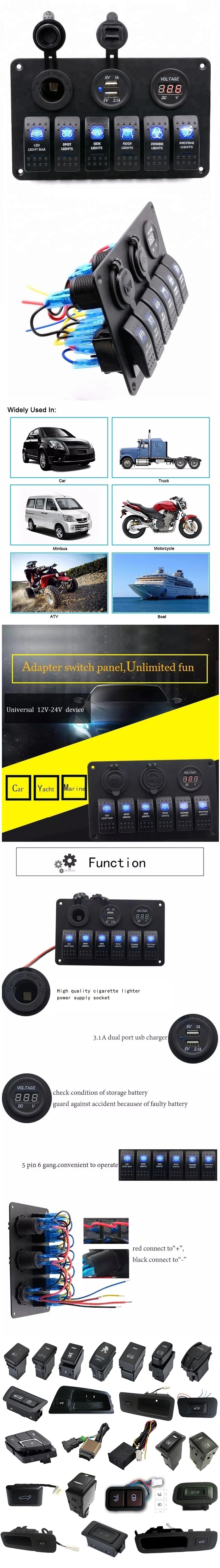 Customize Waterproof 6 Gang LED Display Auto Marine Boat Car Rocker Switch With Dual USB And Power Socket